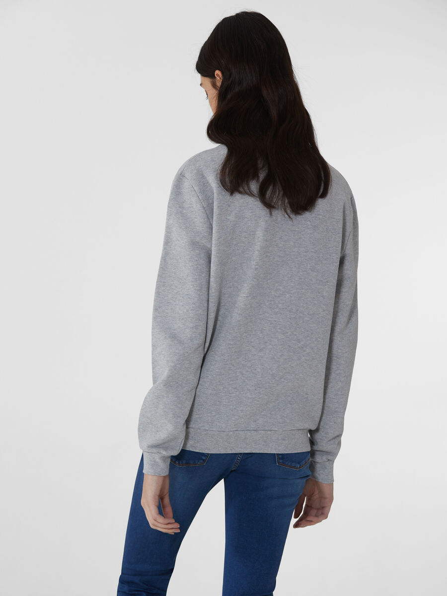 Cotton sweatshirt with glitter and lettering