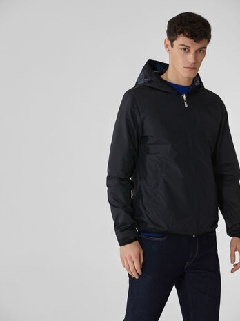 Reversible nylon jacket with hood