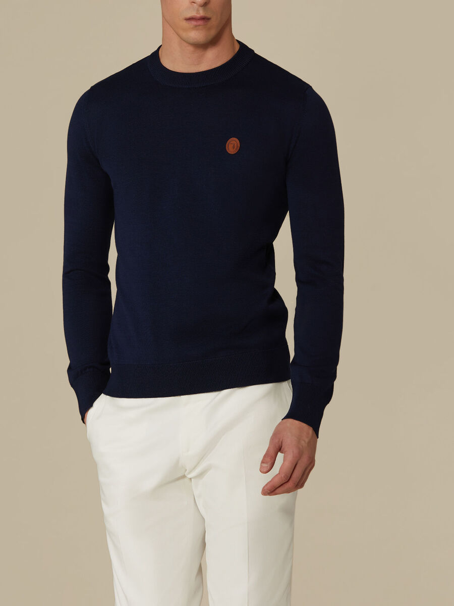Regular-fit cotton crew-neck top