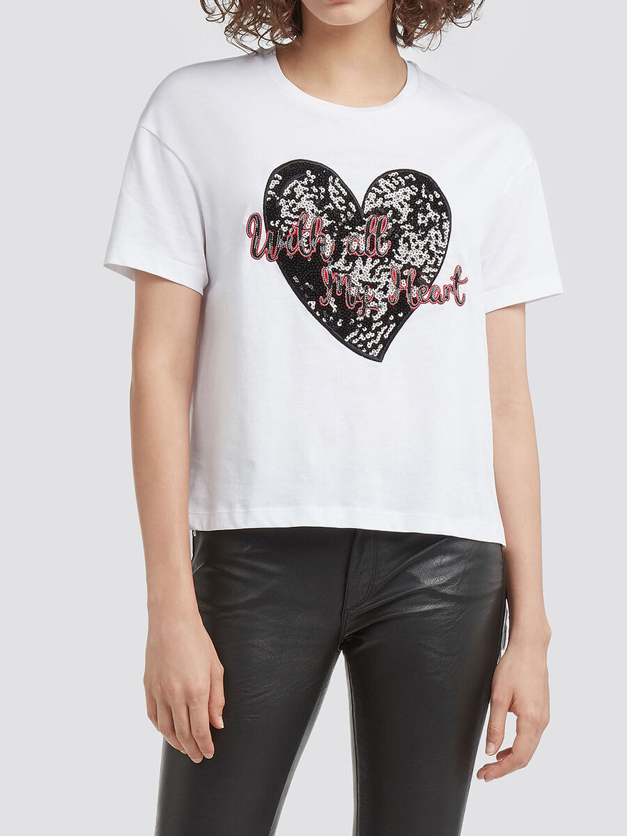 Cotton jersey cropped T shirt sequin details and patch