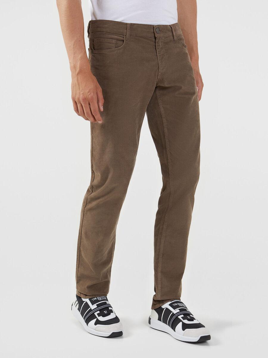 Pantalone 370 Close Fancy in velluto stretch
