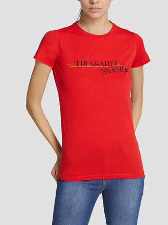 Pure cotton jersey T shirt with lettering