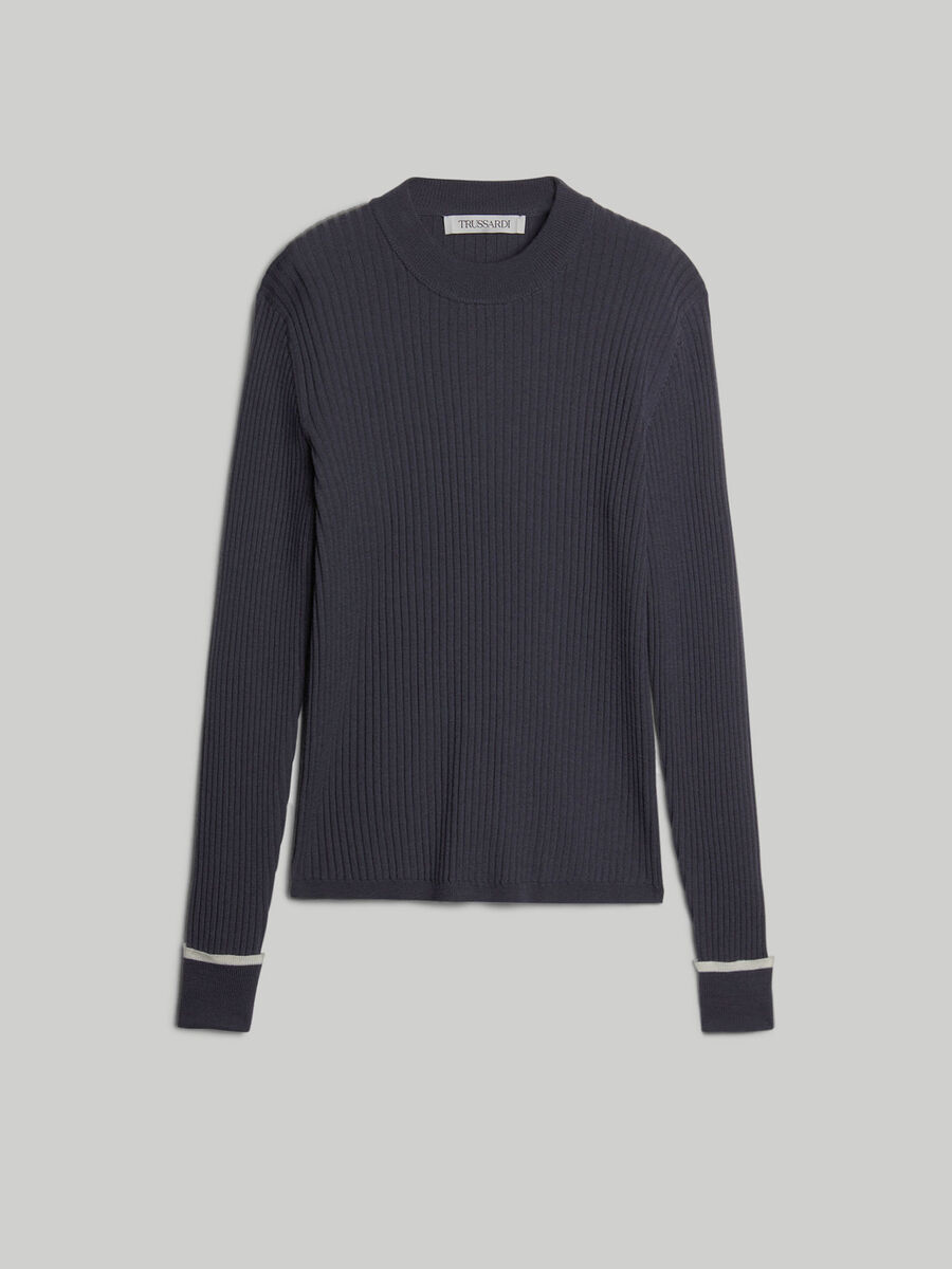 Slim-fit ribbed pure wool pullover