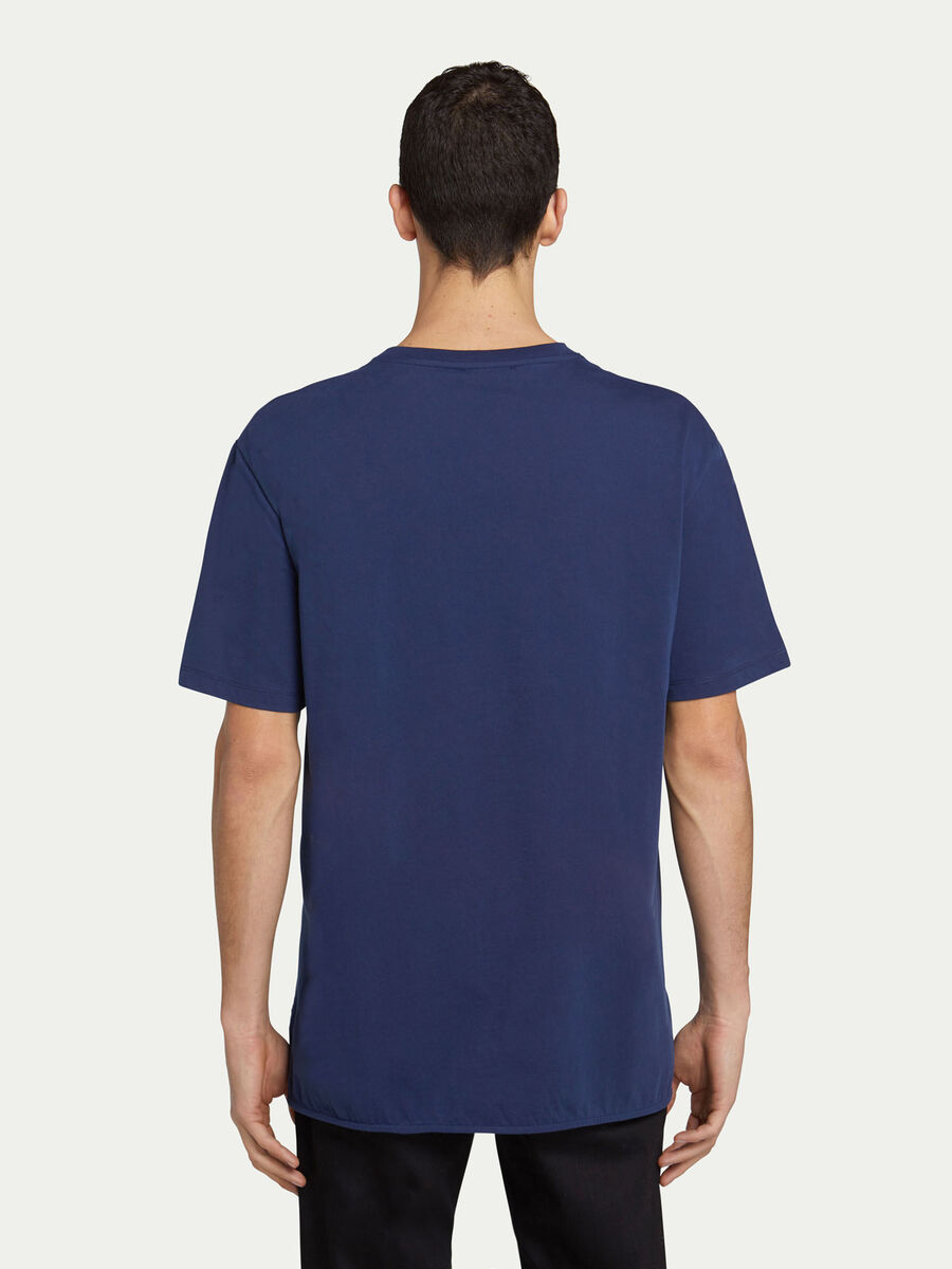 T shirt regular fit in jersey di cotone stampa tralicci