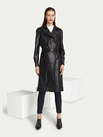 Trench regular fit in pelle con zip e cintura