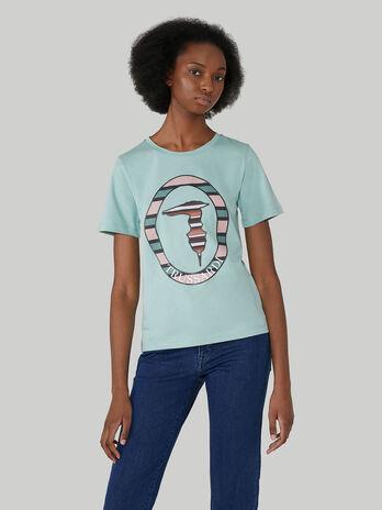 Baumwoll-T-Shirt im Regular-Fit mit Monogram