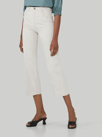 Cotton and linen wide-leg trousers