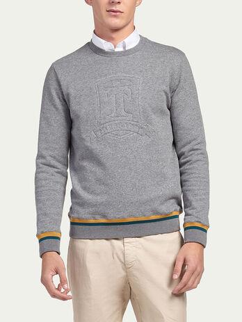 Cotton sweatshirt with embossed logo