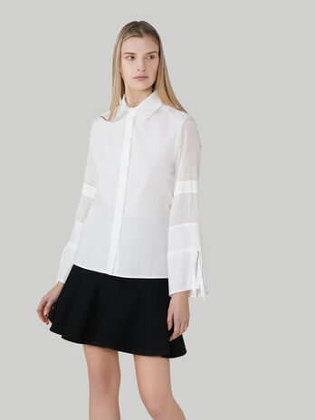Cotton poplin shirt with tie details
