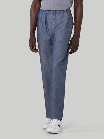 Pantalone jogging in denim di cotone e lino