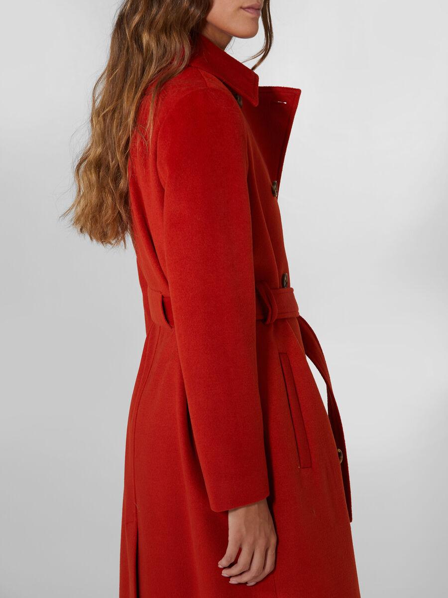 Manteau en laine melangee a ceinture