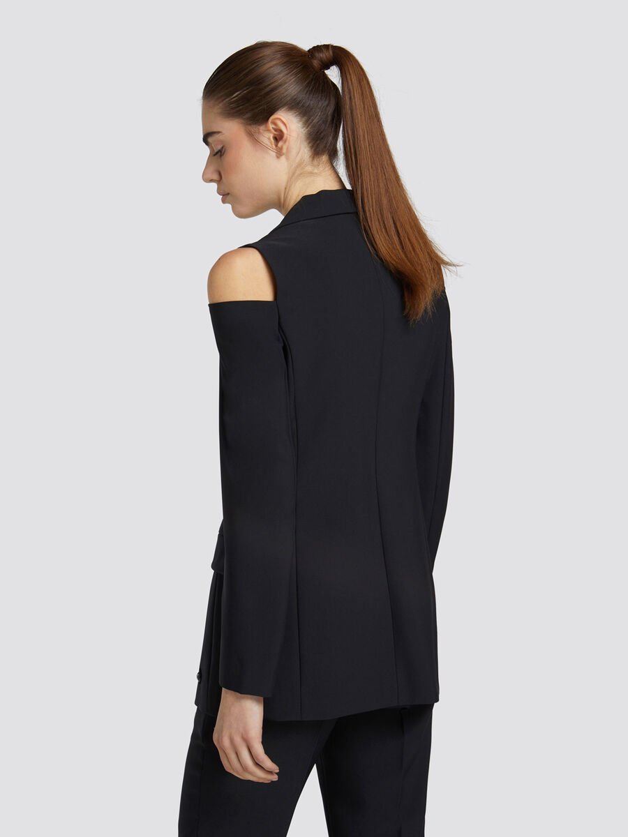 Slim fit jacket in technical fabric with a V neck