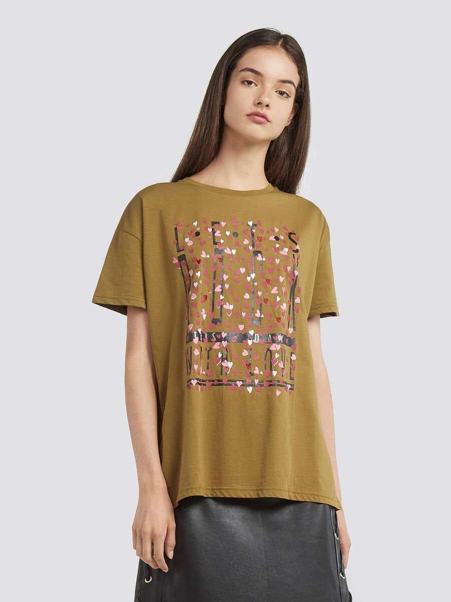 Pure cotton jersey T shirt with print