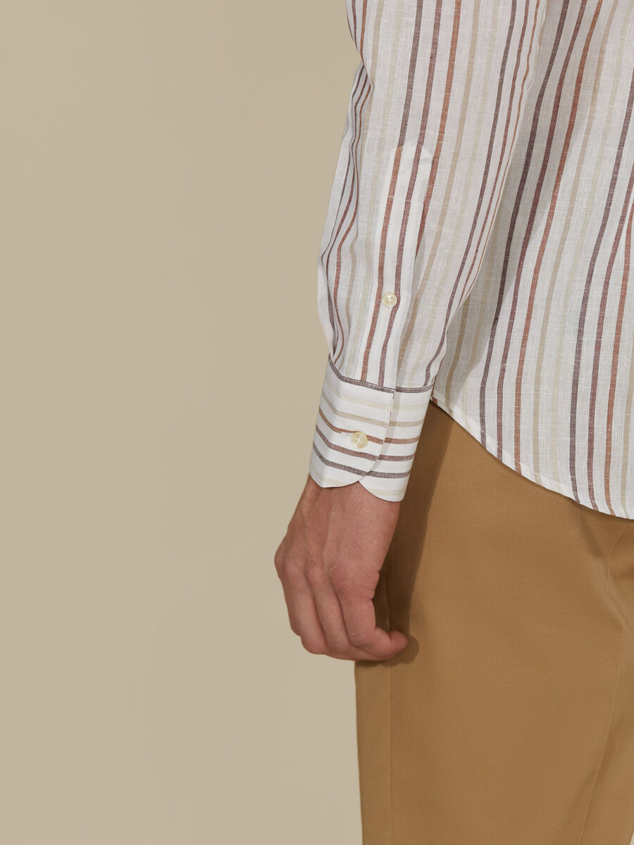 Striped linen-blend shirt