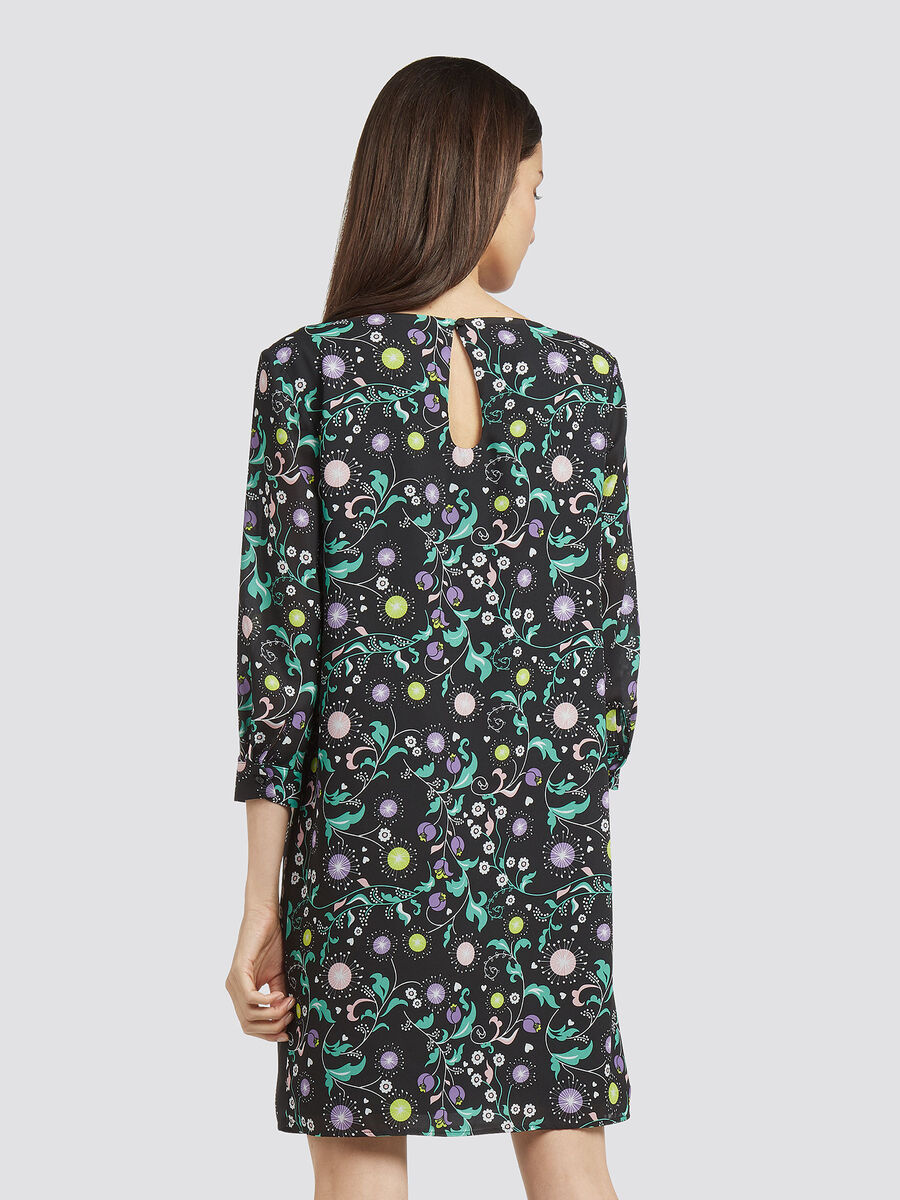 Floral georgette dress with boat neck