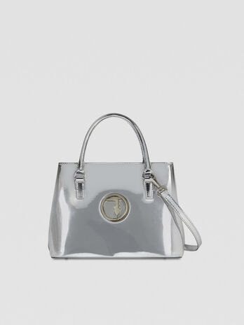 Small Alba tote bag in mirrored faux leather