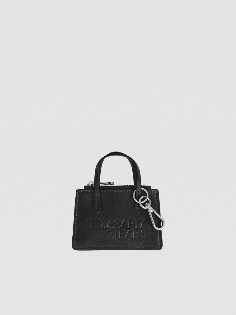 Mini bag charm in metallic faux leather
