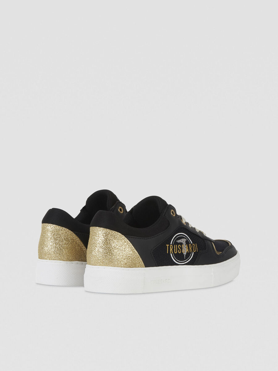 Glittery faux leather and technical mesh sneakers
