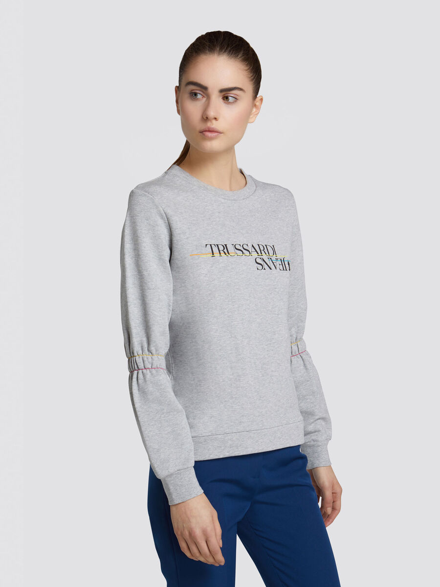 Solid colour fleece sweatshirt with lettering