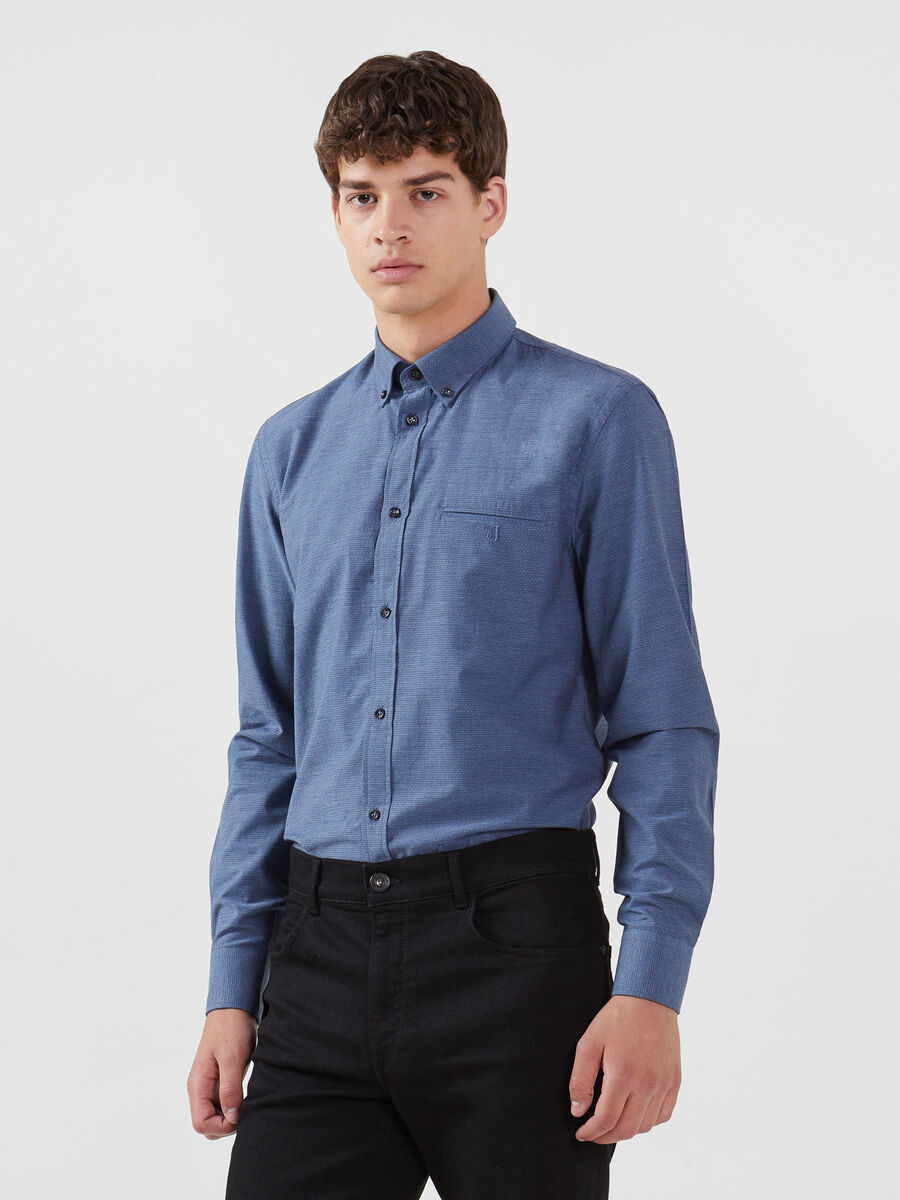 Button down Hemd im Regular Fit aus Melange Baumwolle