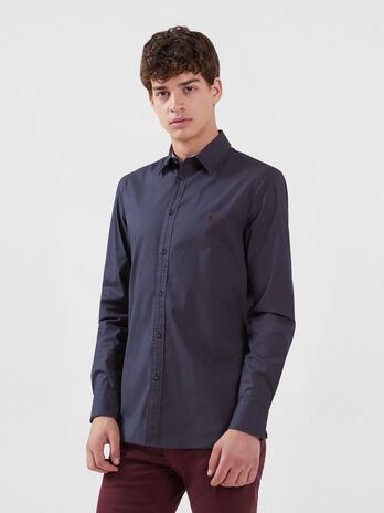 Patterned stretch poplin shirt English spread collar