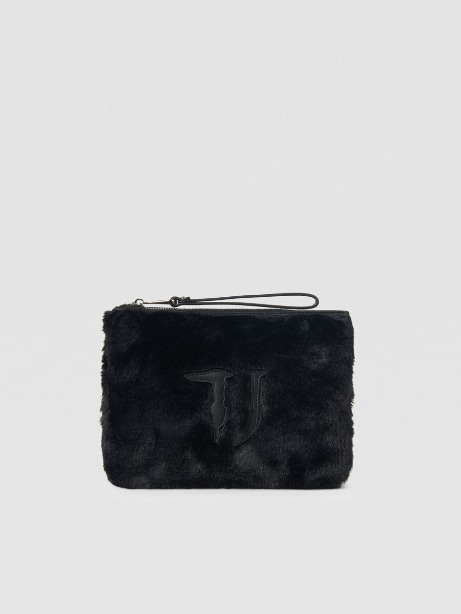 Faux fur T-Wow pouch with logo detailing