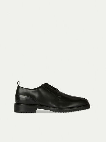 Plain leather lace up Derby shoes