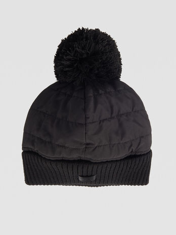 Quilted nylon hat with pom pom
