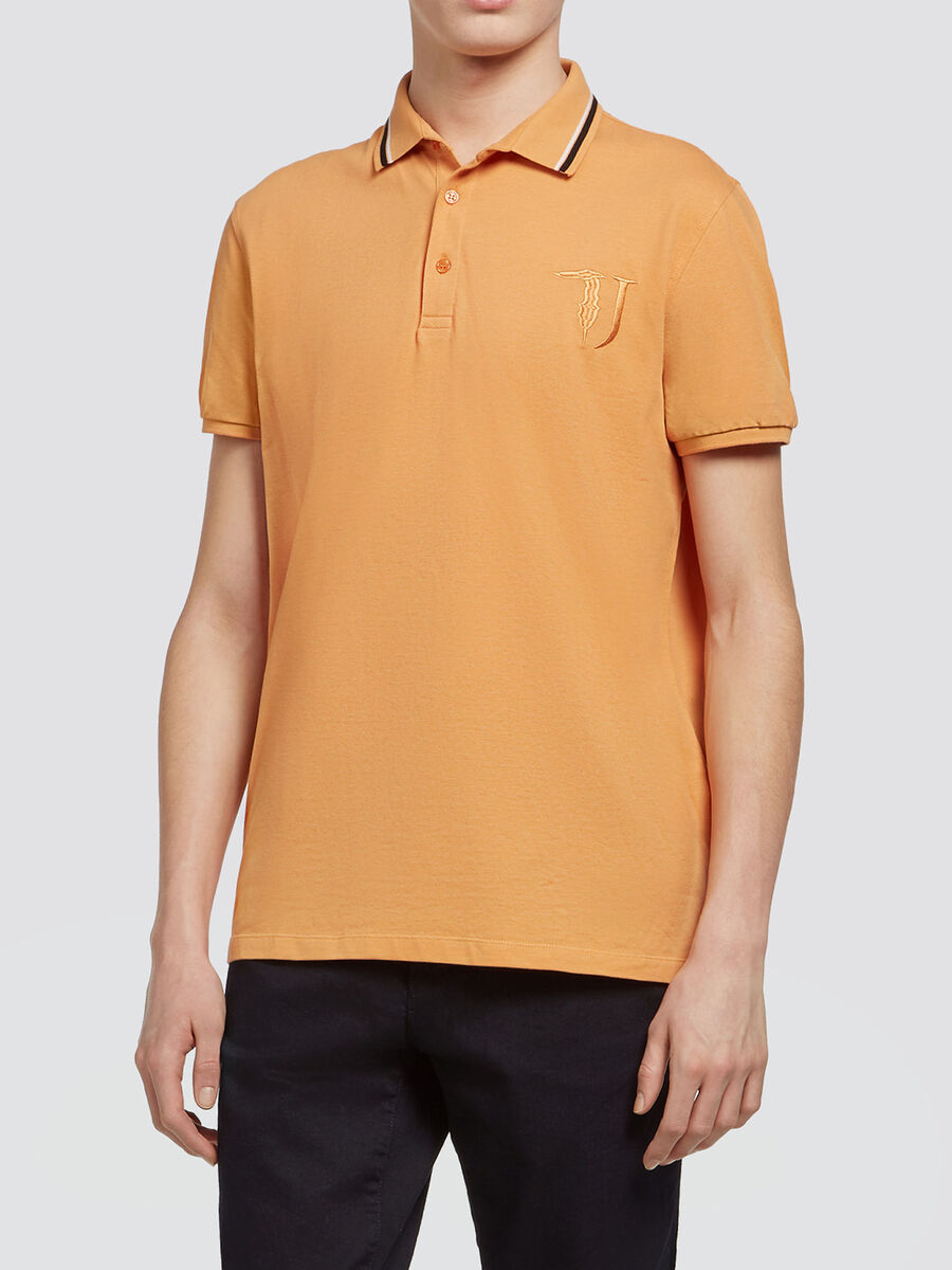Pique polo shirt with striped collar and logo
