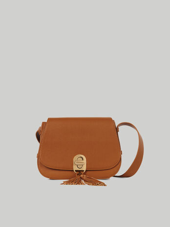 Medium Boston crossbody bag in hammered faux leather