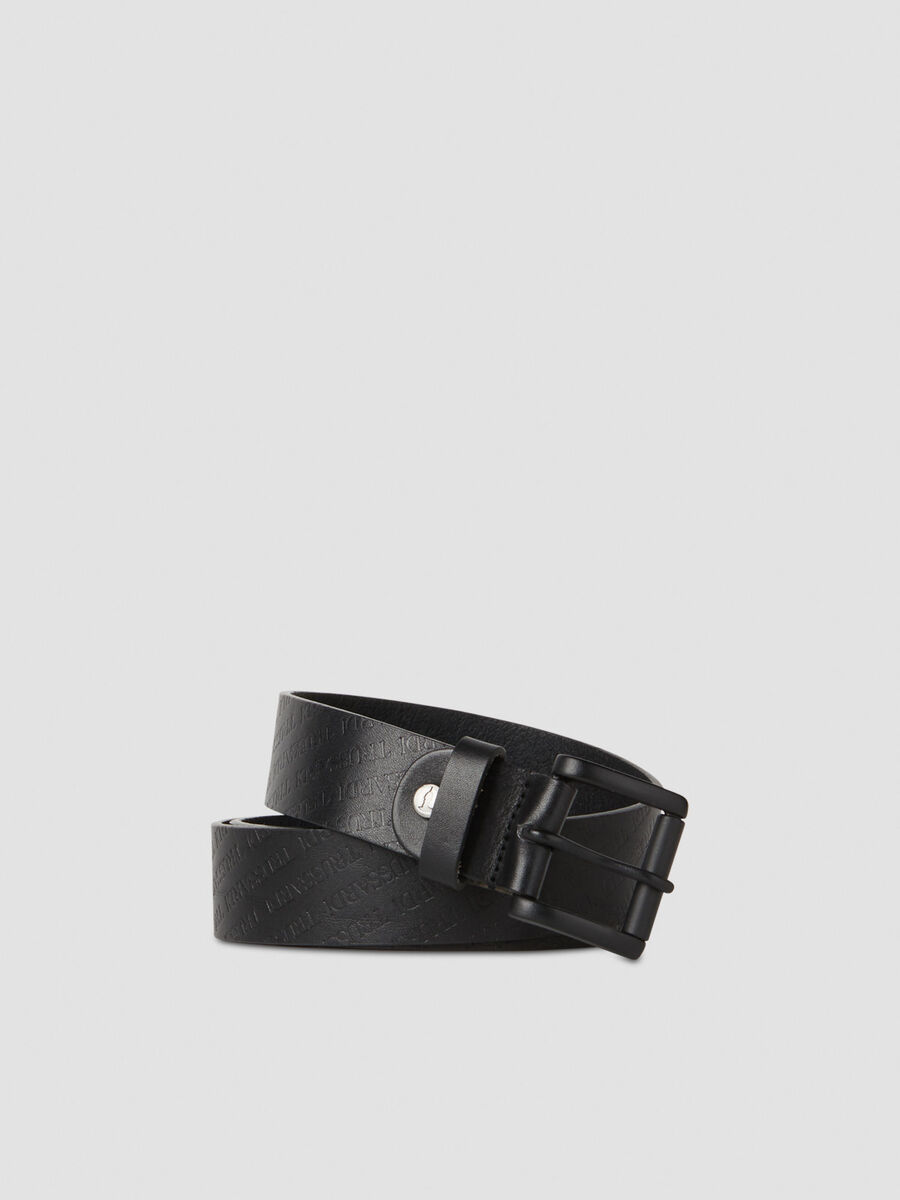 Leather belt with branded pattern