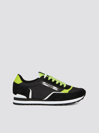 Multi coloured lace up running sneakers suede and nylon