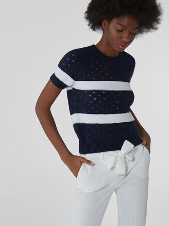 Crew-neck top in perforated cotton
