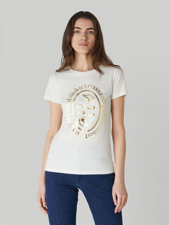 Slim-fit cotton T-shirt with laminated print