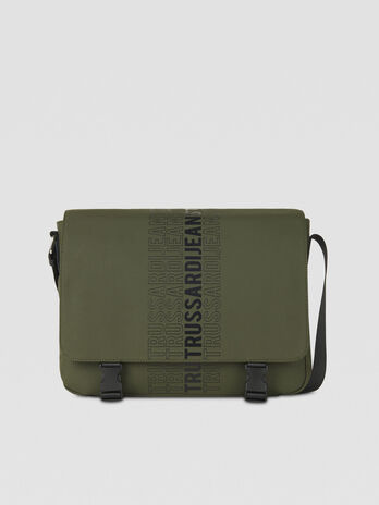 Medium canvas messenger bag with logo