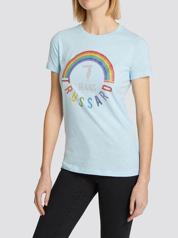 Regular fit jersey T shirt with rainbow print