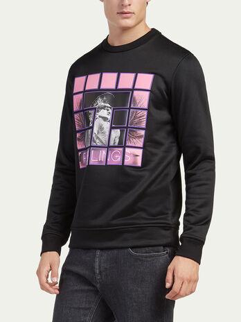 Regular fit technical fabric sweatshirt with print