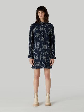Viscose short dress with travel print
