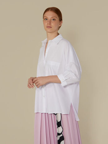 Oversized technical cotton shirt