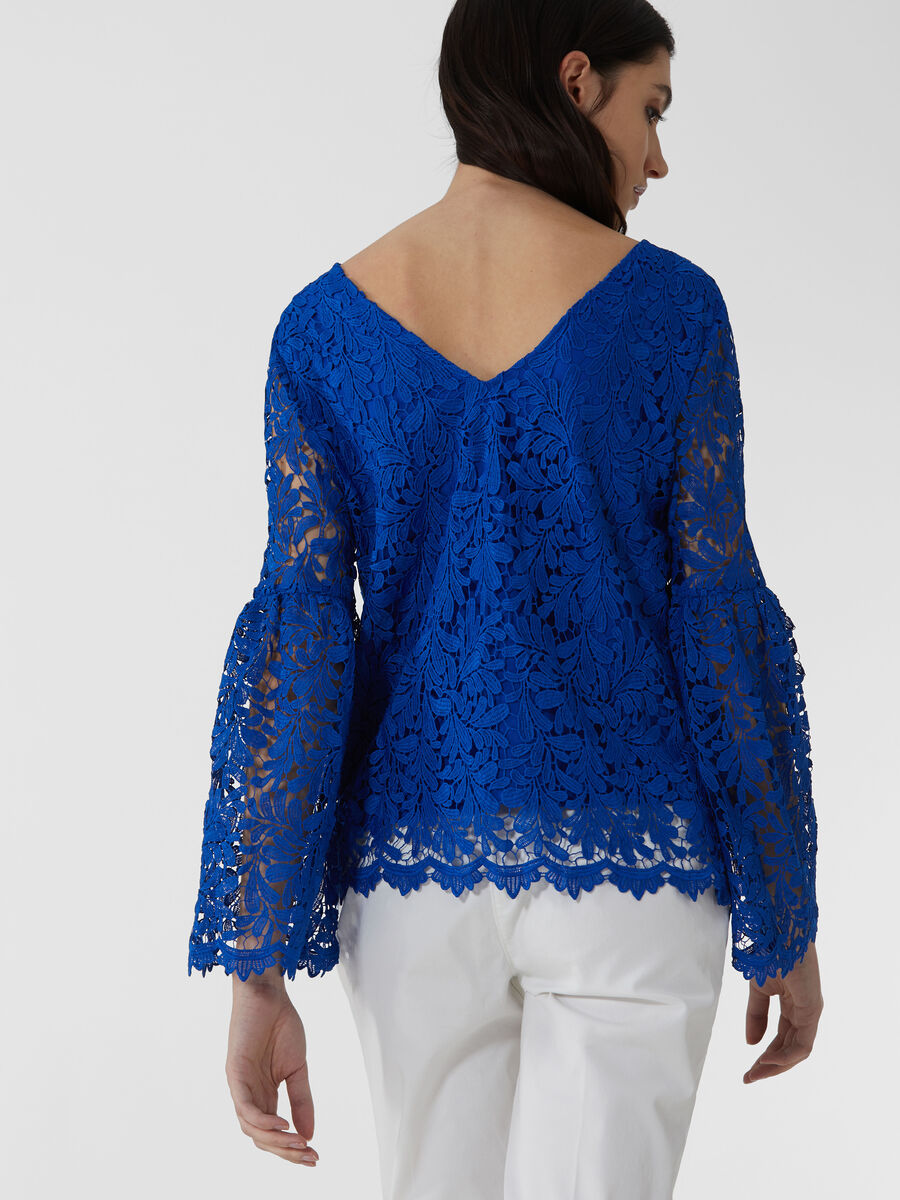 Macrame lace blouse with long sleeves