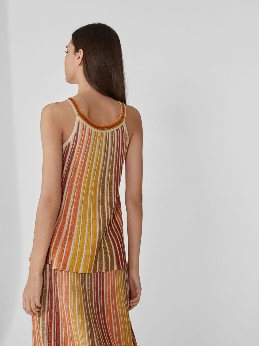 Striped top in lurex and cotton yarn