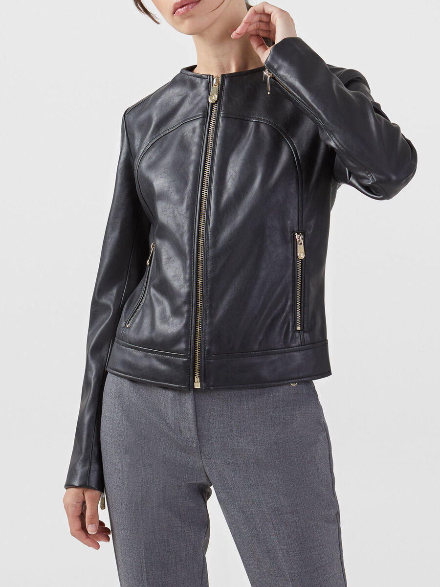 Slim fit crew neck jacket in faux leather