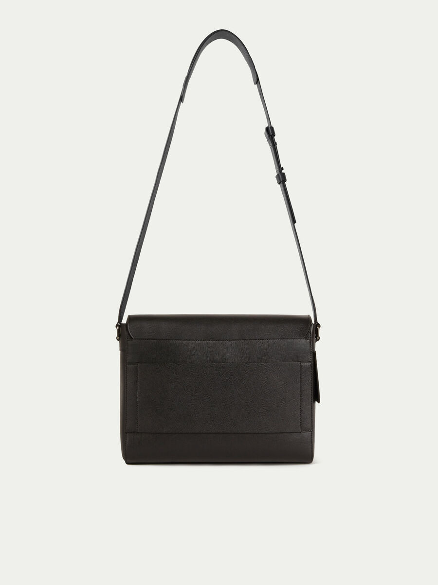Large messenger bag in saffiano print leather