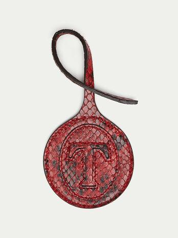 Rundes Logo Charme aus Crespo Leder mit Python Prägung