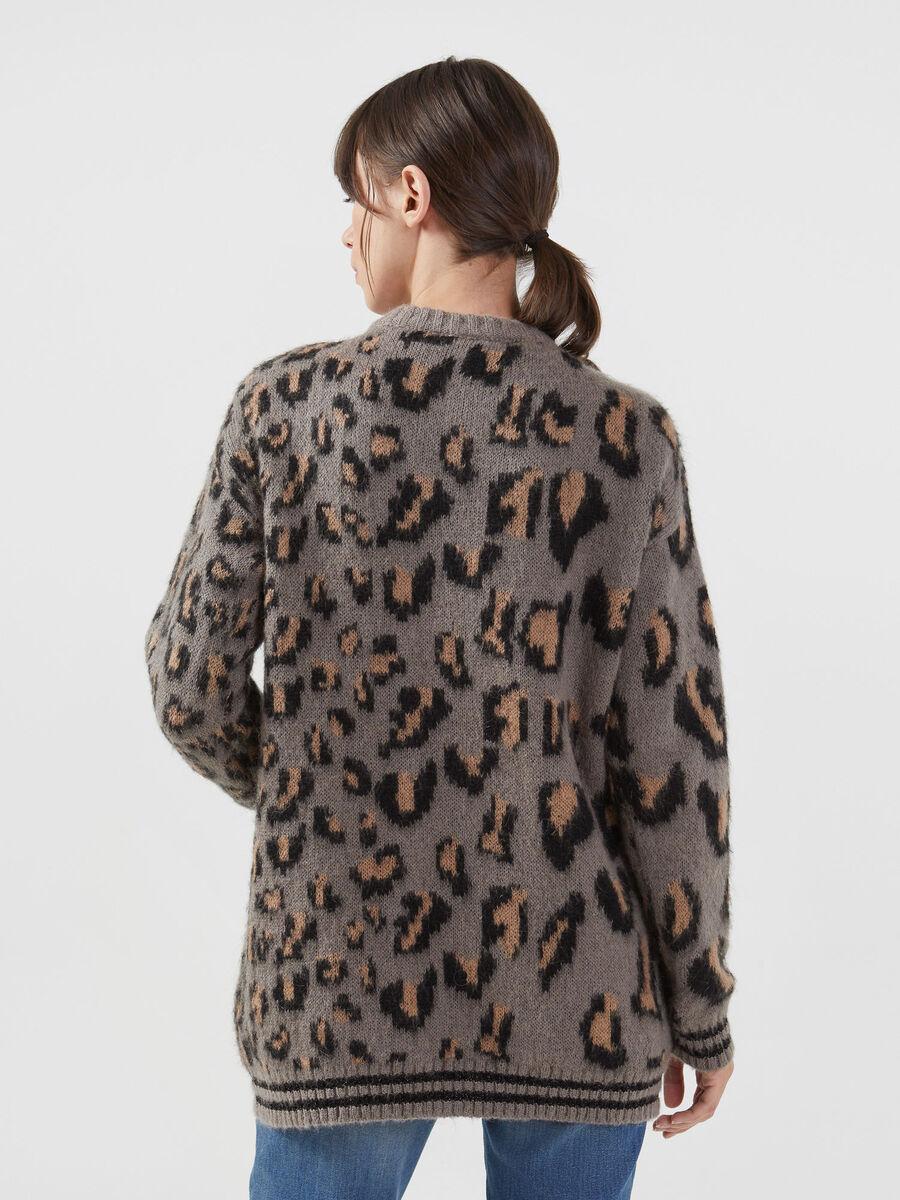 Jacquard Rundhalspullover aus Mohair Woll Gemisch