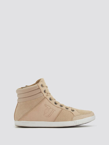 Perforated high top sneakers with top stitching