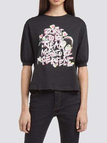 T shirt with puff sleeves and lettering print
