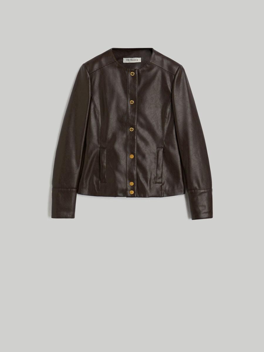 Jacke aus glattem Kunstleder mit Rundhalsausschnitt