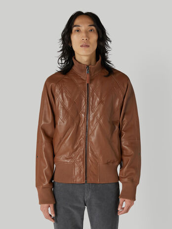 Leather jacket with knit trims