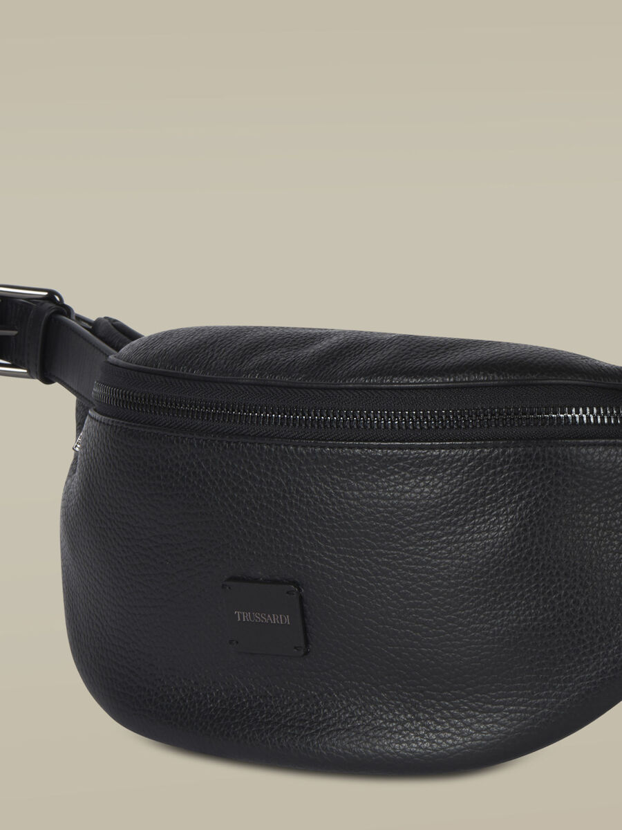 Leather Business belt bag with zip